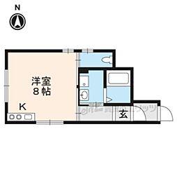 京阪本線 伏見稲荷駅 徒歩2分の賃貸アパート 1階ワンルームの間取り