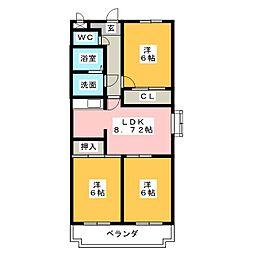 サンモール浜田[3階]の間取り