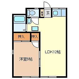 長野県千曲市大字鋳物師屋の賃貸アパートの間取り