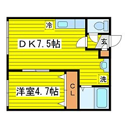 北海道札幌市東区北二十三条東12丁目の賃貸アパートの間取り