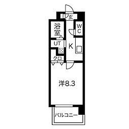 名古屋市営鶴舞線 浅間町駅 徒歩9分の賃貸マンション 9階1Kの間取り