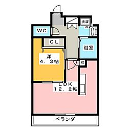愛知県名古屋市港区東茶屋2の賃貸アパートの間取り