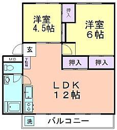 久米川駅東住宅25号棟[503号室]の間取り