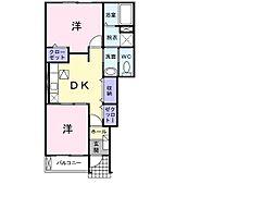 和歌山県海南市重根の賃貸アパートの間取り