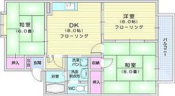 ロイヤルビレッジ松木 A棟 2階3DKの間取り
