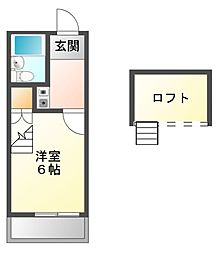 愛知県名古屋市中川区西日置2丁目の賃貸アパートの間取り