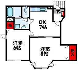 福岡県古賀市中央2丁目の賃貸アパートの間取り