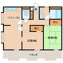 埼玉県坂戸市浅羽野2丁目の賃貸マンションの間取り