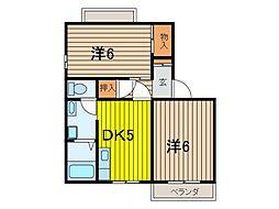埼玉県さいたま市緑区東浦和3丁目の賃貸アパートの間取り