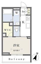 千葉寺マンション新築工事 3階1Kの間取り