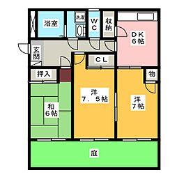 プリミエール大垣[1階]の間取り