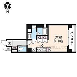 京都市営烏丸線 五条駅 徒歩13分の賃貸マンション 2階1Kの間取り