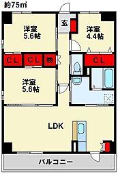 Livableなかま 4階3LDKの間取り