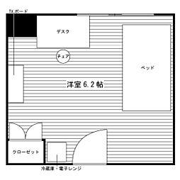 学生会館 ユニハーモニー高蔵寺食事付き[2階]の間取り