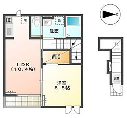 JR山陽本線 東岡山駅 徒歩8分の賃貸アパート 2階1LDKの間取り