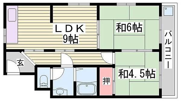 シャトー東洋[6階]の間取り