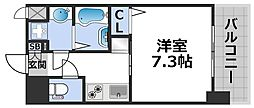 ワールドアイ大阪ドームシティ 7階1Kの間取り