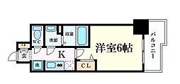 Osaka Metro谷町線 天満橋駅 徒歩5分の賃貸マンション 6階1Kの間取り
