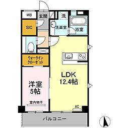 カスタニエ緑井III[1階]の間取り