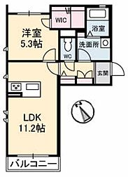 ダンデライオン中野美保北 B 2階1LDKの間取り