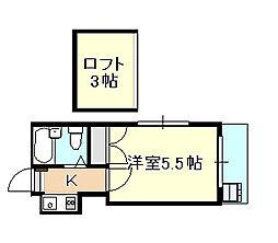 岡山県岡山市北区鹿田本町の賃貸アパートの間取り