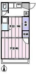 殖産アパート[203号室]の間取り