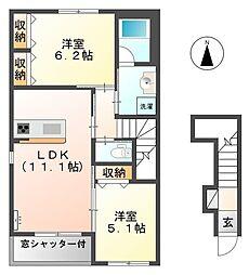 愛知県一宮市伝法寺10丁目の賃貸アパートの間取り