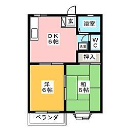 ガーデンサハシA[2階]の間取り