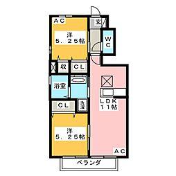 愛知県岡崎市土井町字荒井乙の賃貸アパートの間取り