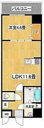 泉北高速鉄道 深井駅 徒歩4分の賃貸マンション 7階1LDKの間取り