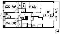 兵庫県宝塚市高松町の賃貸マンションの間取り
