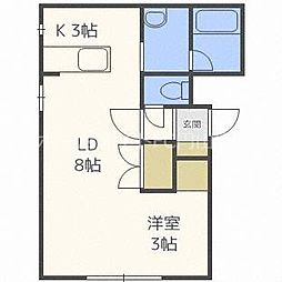 宮の森310マンション 4階1LDKの間取り