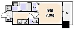 Osaka Metro千日前線 桜川駅 徒歩9分の賃貸マンション 12階1Kの間取り
