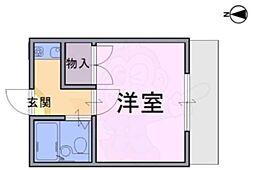大和高田第19マンション 2階1Kの間取り