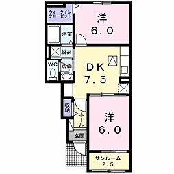 徳島県板野郡北島町中村字明神下の賃貸アパートの間取り