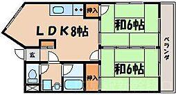 広島県安芸郡府中町浜田2丁目の賃貸マンションの間取り