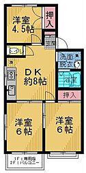 マーロンシライト 2階3DKの間取り