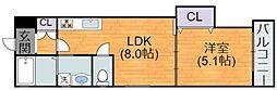 Osaka Metro谷町線 喜連瓜破駅 徒歩12分の賃貸アパート 1階1LDKの間取り