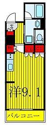 都営三田線 西巣鴨駅 徒歩6分の賃貸マンション 4階ワンルームの間取り