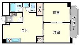 江坂グランドハイツ北[2階]の間取り