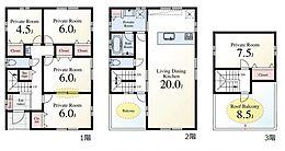 C区画参考プラン 駐車スペース2台可能(車種による)