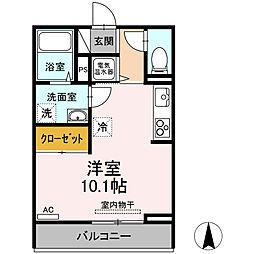 伊予鉄道高浜線 衣山駅 徒歩24分の賃貸アパート 3階ワンルームの間取り