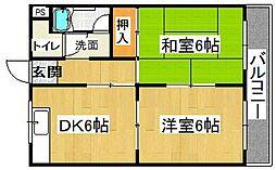 橋喜ハイツ 1号館[3階]の間取り