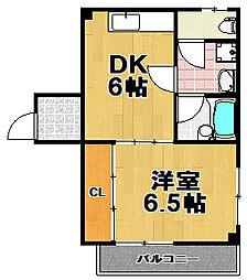 朝日橋ハイツ[4階]の間取り
