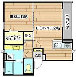 大阪府茨木市本町の賃貸アパートの間取り