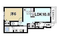 近鉄天理線 天理駅 徒歩12分の賃貸アパート 1階1LDKの間取り