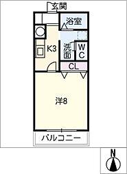 愛知県小牧市藤島町鏡池の賃貸アパートの間取り
