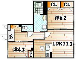 シャーメゾンJ・K A棟[1階]の間取り