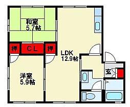フレグランスM B棟[102号室]の間取り