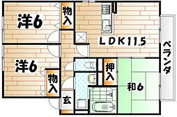 ルネッサンス大里[2階]の間取り